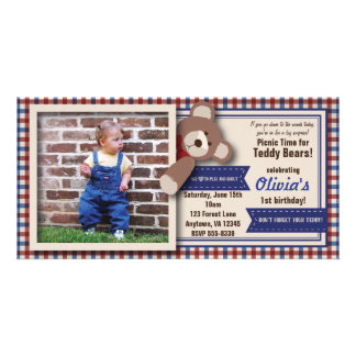 Teddy Bear Picnic Birthday -Red & Blue Gingham Card