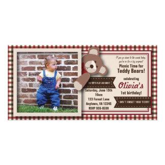 Teddy Bear Picnic Birthday -Red & Brown Gingham Card