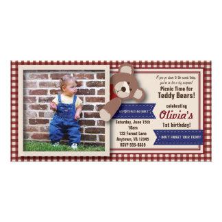 Teddy Bear Picnic Birthday -Red Gingham Card