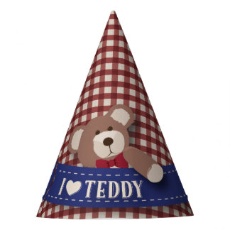 Teddy Bear Picnic Birthday -Red Gingham Party Hat