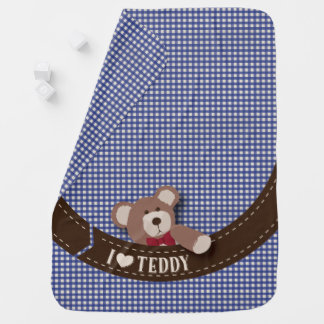 Teddy Bear Picnic- Blue Gingham Baby Blanket