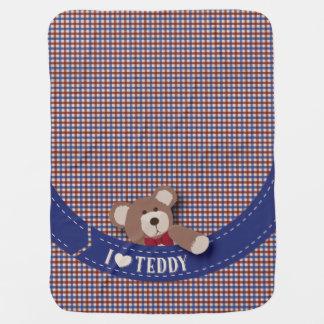 Teddy Bear Picnic- Blue & Red Gingham Stroller Blanket