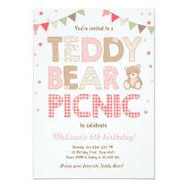 Teddy Bear Picnic Girl birthday Invitation Pink