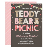 Picnic birthday invitations announcements zazzle teddy bear picnic girl birthday invitation pink filmwisefo Image collections