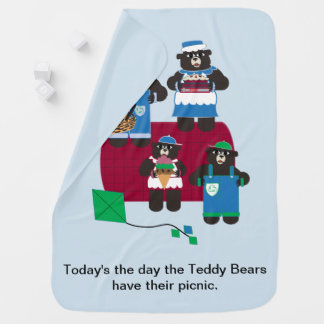 Teddy Bear Picnic Receiving Blanket
