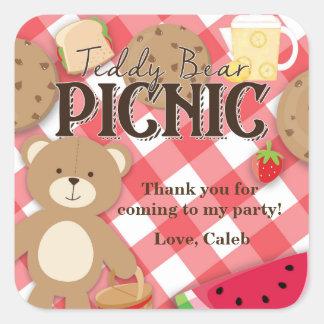 Teddy Bear Picnic Summer Birthday Party Favor Square Sticker