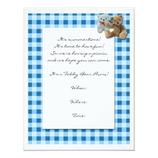 Teddy Bear Picnic with Blue and White Tablecloth Custom Invites
