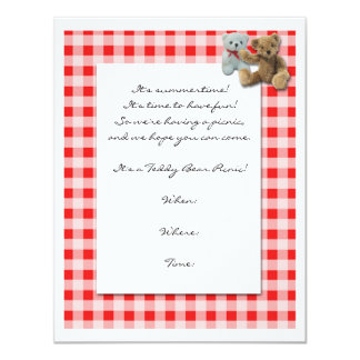 Teddy Bear Picnic with Red and White Tablecloth Invites
