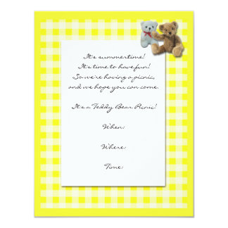 Teddy Bear Picnic with Yellow and White Tablecloth Invitations