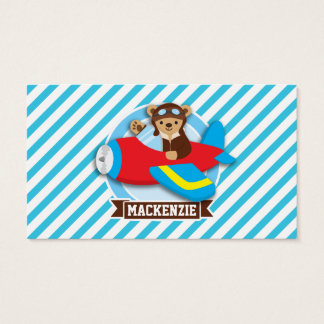 Teddy Bear Pilot in Red Toy Airplane; Blue Stripes Business Card