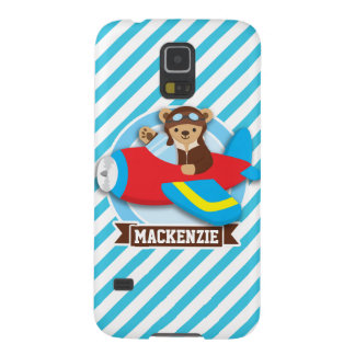 Teddy Bear Pilot in Red Toy Airplane; Blue Stripes Galaxy S5 Cases