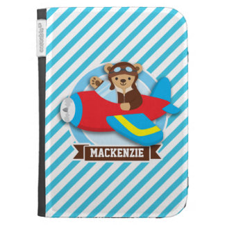 Teddy Bear Pilot in Red Toy Airplane; Blue Stripes Kindle Keyboard Case