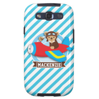 Teddy Bear Pilot in Red Toy Airplane; Blue Stripes Samsung Galaxy S3 Covers