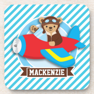 Teddy Bear Pilot in Red Toy Airplane; Blue Stripes Coasters