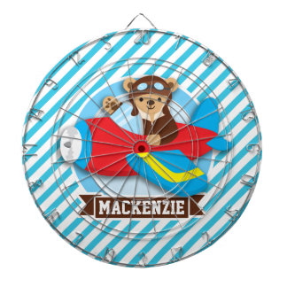 Teddy Bear Pilot in Red Toy Airplane; Blue Stripes Dart Boards