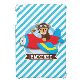 Teddy Bear Pilot in Red Toy Airplane; Blue Stripes Cover For The iPad Mini