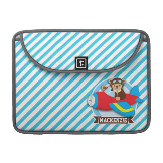 Teddy Bear Pilot in Red Toy Airplane; Blue Stripes Sleeve For MacBook Pro