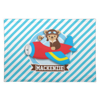 Teddy Bear Pilot in Red Toy Airplane; Blue Stripes Cloth Place Mat