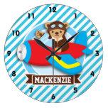 Teddy Bear Pilot in Red Toy Airplane; Blue Stripes Wall Clocks