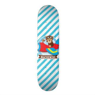 Teddy Bear Pilot in Red Toy Airplane; Blue Stripes Skateboard