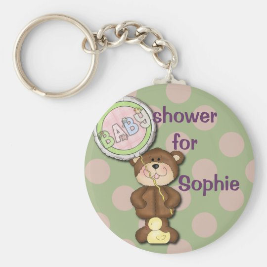 Teddy Bear Pink and Green Keychain
