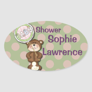 Teddy Bear Pink and Green Oval Sticker