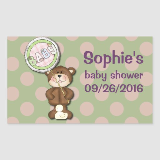 Teddy Bear Pink and Green Sticker