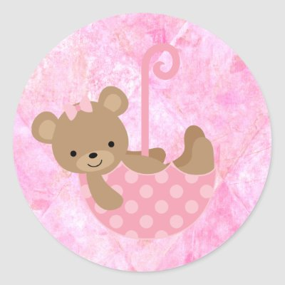 Teddy Bear Pink Baby Shower Stickers