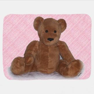 Teddy Bear (pink background) Baby Blanket