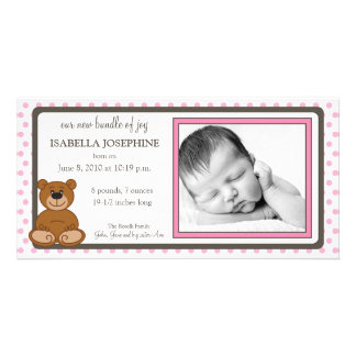 Teddy Bear Pink Customized Birth Announcement