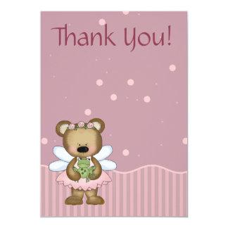 Teddy Bear Pink Fairy Princess Thank You Card