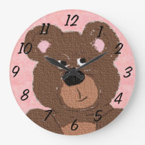 Teddy Bear (pink) Large Clock