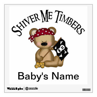 Teddy Bear Pirate - Shiver Me Timbers Wall Decal