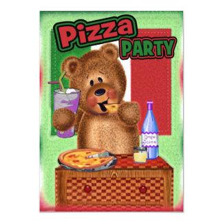 Teddy Bear Pizza Birthday Party Card