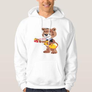 Teddy bear playing a guitar hoodie
