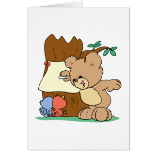 teddy bear playing school teaching the birds card