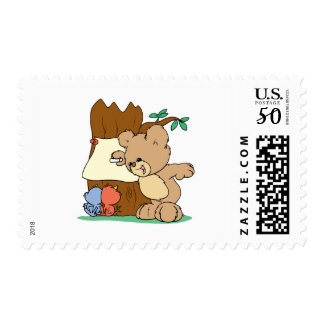 teddy bear playing school teaching the birds postage