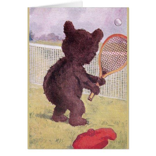 Teddy Bear Playing Tennis Card