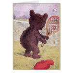 Teddy Bear Playing Tennis Greeting Cards