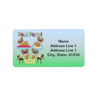 Teddy Bear Pool Party Address Labels