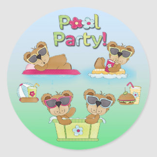 Teddy Bear Pool Party Envelope Seals Round Sticker