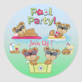 Teddy Bear Pool Party Invitation Envelope Seals Round Stickers
