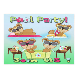 Teddy Bear Pool Party Invitations