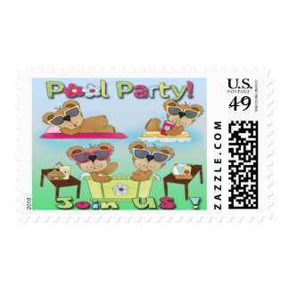 Teddy Bear Pool Party Invitations Postage Stamps