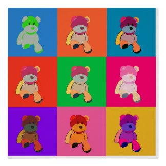Teddy Bear Pop Art Print