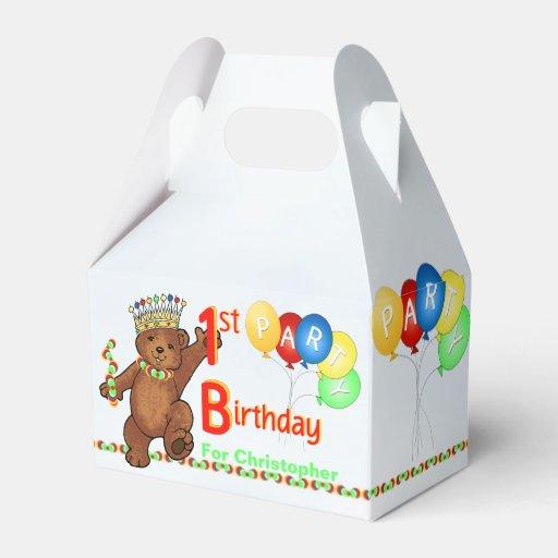 Personalized 1st Birthday Favor Boxes : Teddy bear prince st birthday party custom favor box zazzle