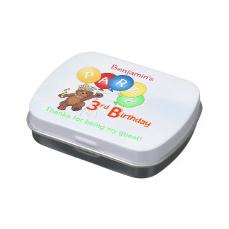Teddy Bear Prince 3rd Birthday Party Jelly Belly Candy Tin
