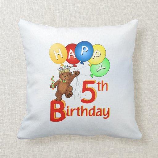 Teddy Bear Prince 5th Birthday Pillow