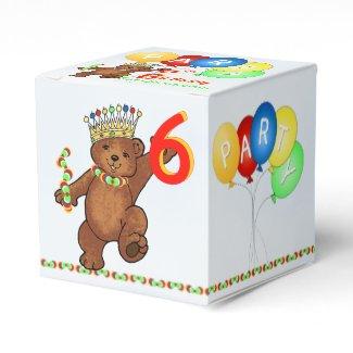 Teddy Bear Prince 6th Birthday Party Custom Favor Box
