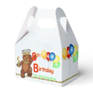 Teddy Bear Prince 8th Birthday Party Custom Favor Box